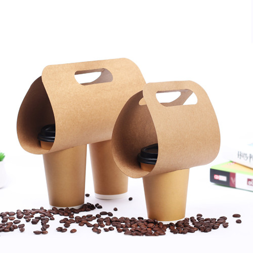 KRAFT PAPER COFFEE CUPS HOLDER TRAYS