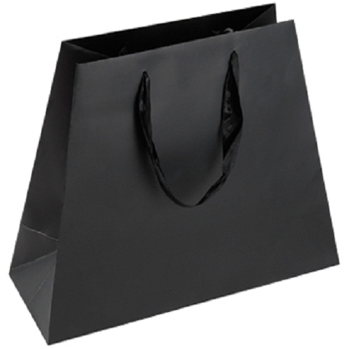 LUXURY BLACK PAPER SHOPPING BAGS WITH RIBBON