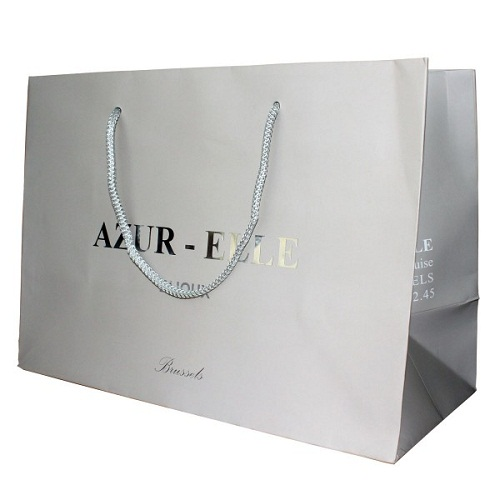MATT PAPER SHOPPING BAGS WITH SILVER LOGO STAMPING