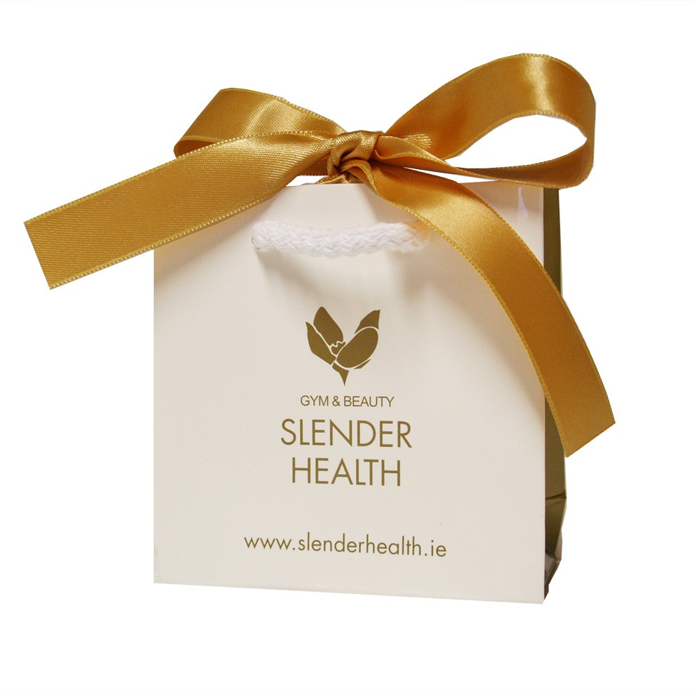 LUXURY BEAUTY/GYM/HOTEL PAPER SHOPPING BAGS WITH RIBBON